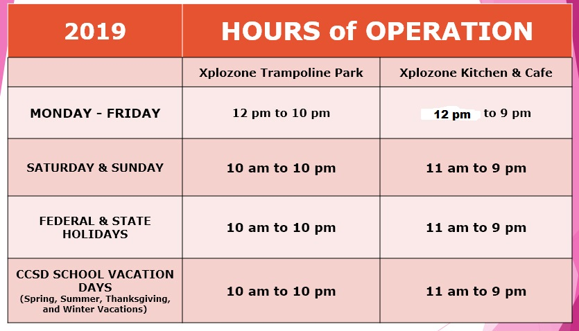 2019 operating hours