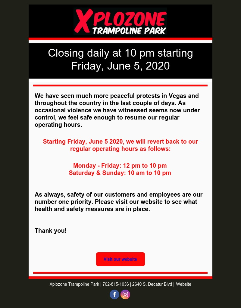 Revert back to regular operating hours